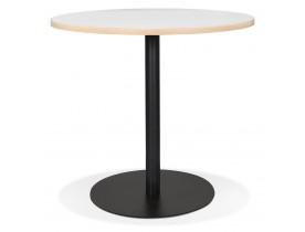Witte ronde bistrotafel 'YOGI' met een zwarte metalen poot - Ø 80 cm
