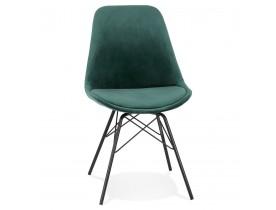 Design stoel 'ZAZY' van groene fluweel met zwarte metalen poten