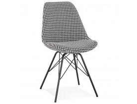 Design stoel 'ZAZY' van pied-de-poule-print stof met zwarte metalen poten