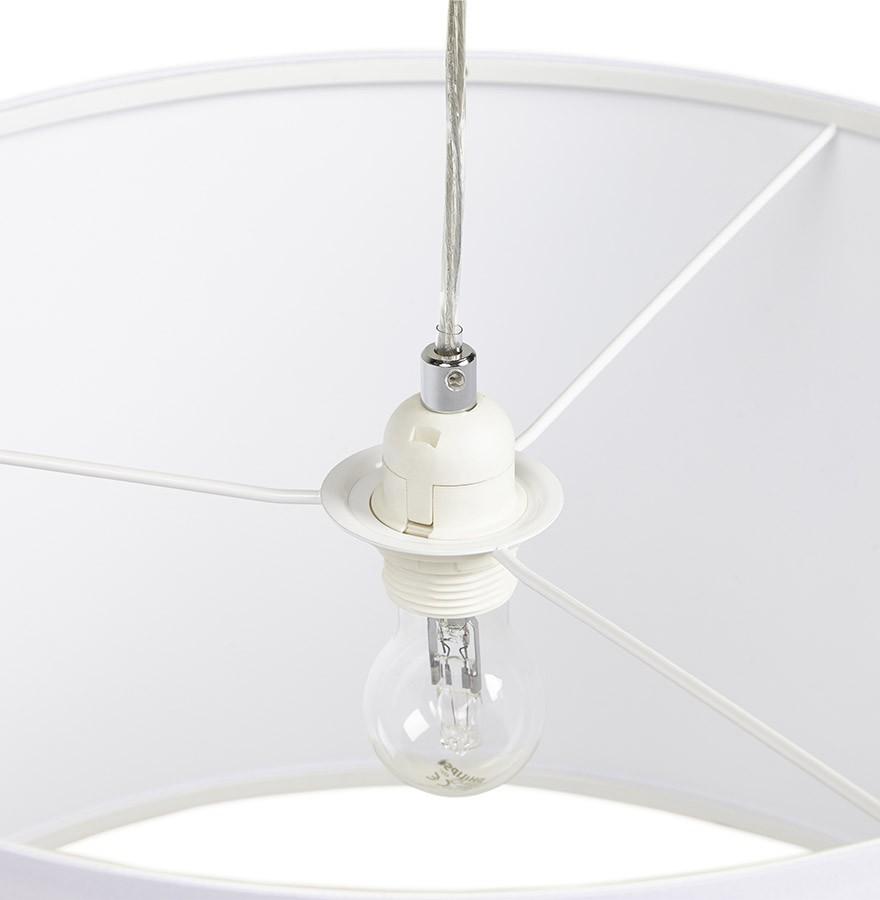 Ronde Hanglamp Bungee Van Witte Stof Design Kroonluchter