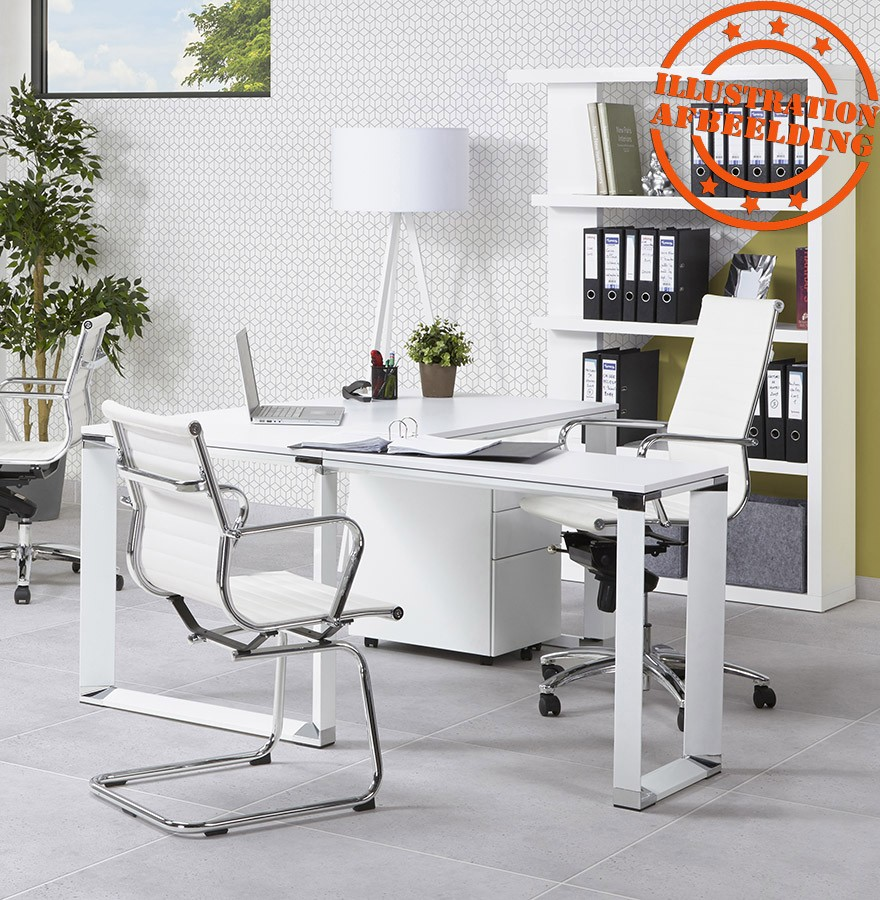 Design Bureaustoel Wit.Design Bureaustoel Giga In Wit Kunstleder Bureaustoel