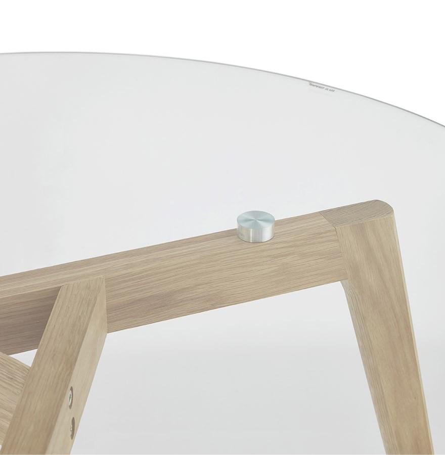 Lage ronde salontafel GLAZY van glas   Design tafel