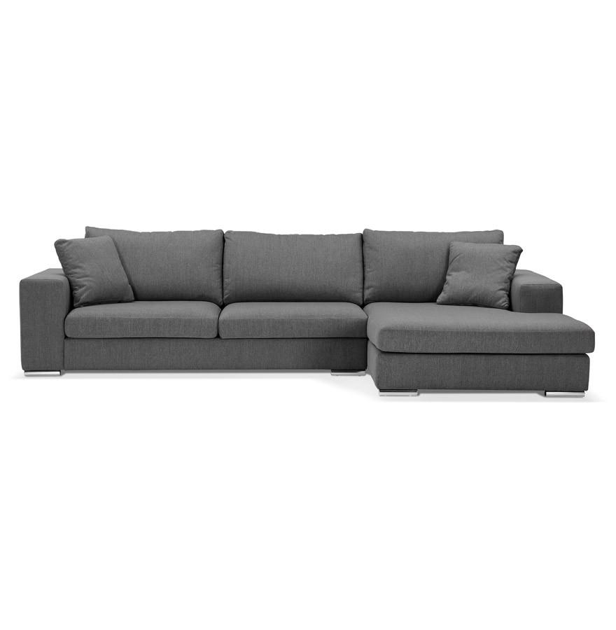 Moderne hoekbank luca l shape van donkergrijze stof hoek rechts - Sofa van de hoek uitstekende ...