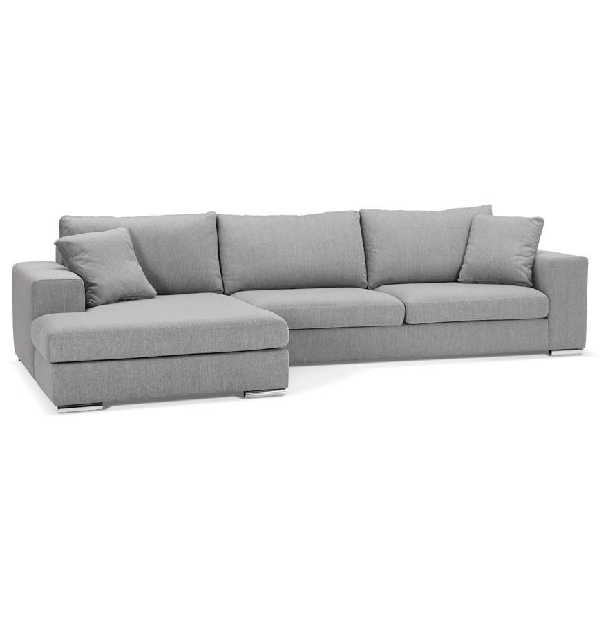 Moderne hoekbank luca l shape van lichtgrijze stof hoek links - Sofa van de hoek uitstekende ...
