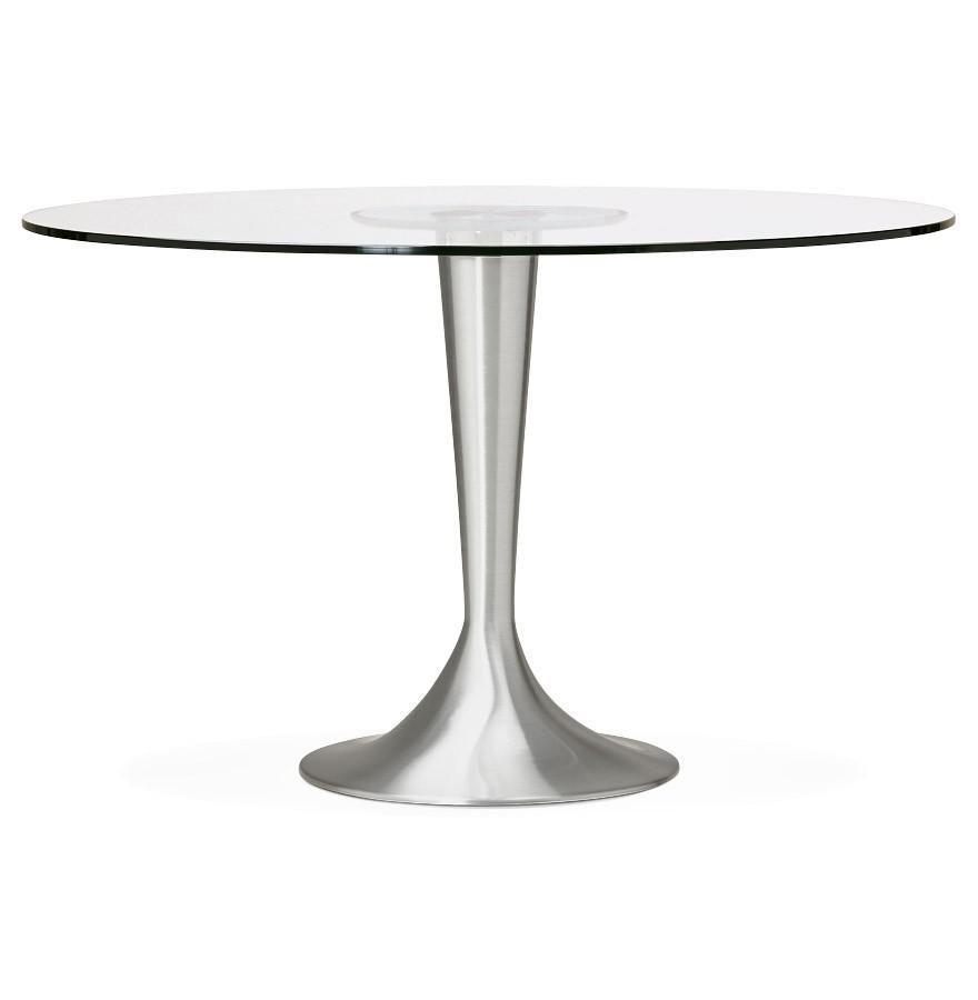 Tuintafel Rond Met Glas.Moderne Ronde Glazen Eettafel Maskara O 120 Cm
