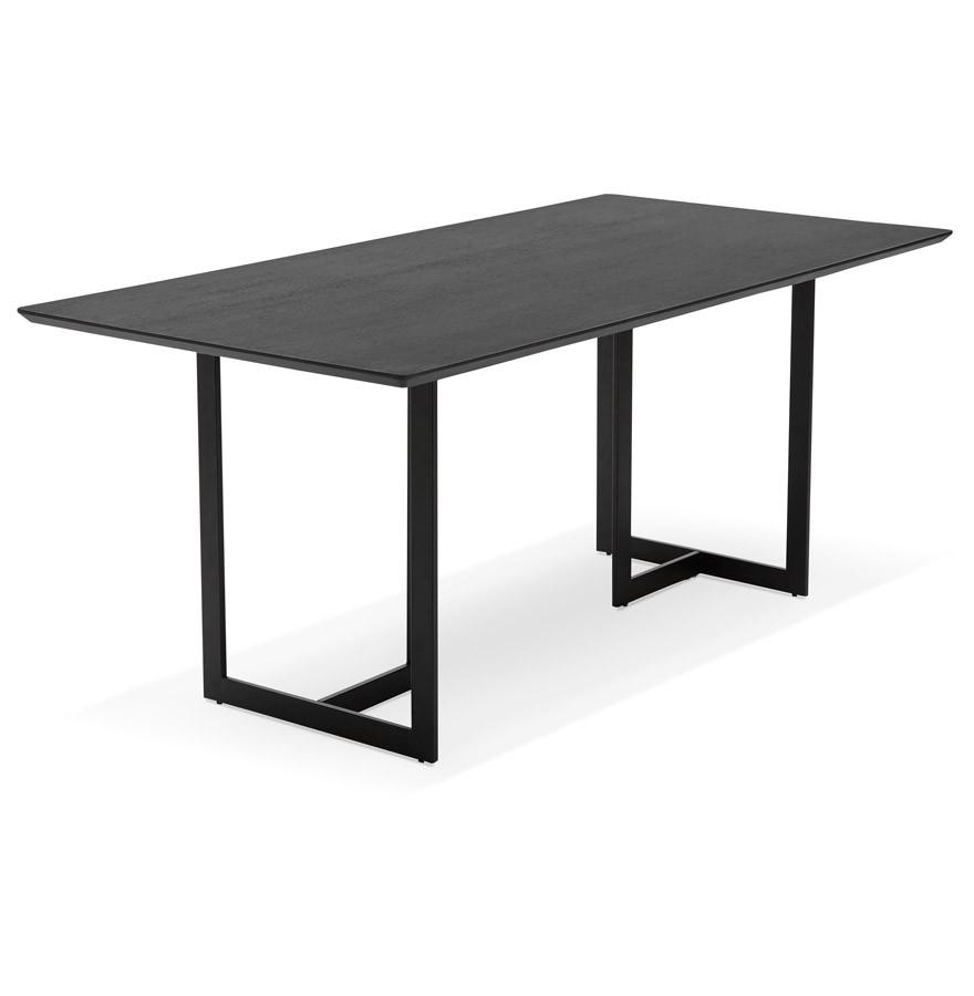 Design tafel titus van zwart hout modern bureau 180x90 cm for Bureau 150x70