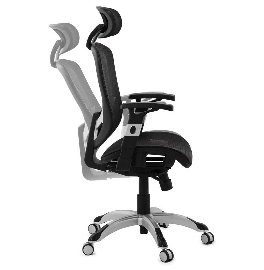 Bureaustoel Met Verstelbare Rugleuning.Zwarte Ergonomische Design Bureaustoel Typhon