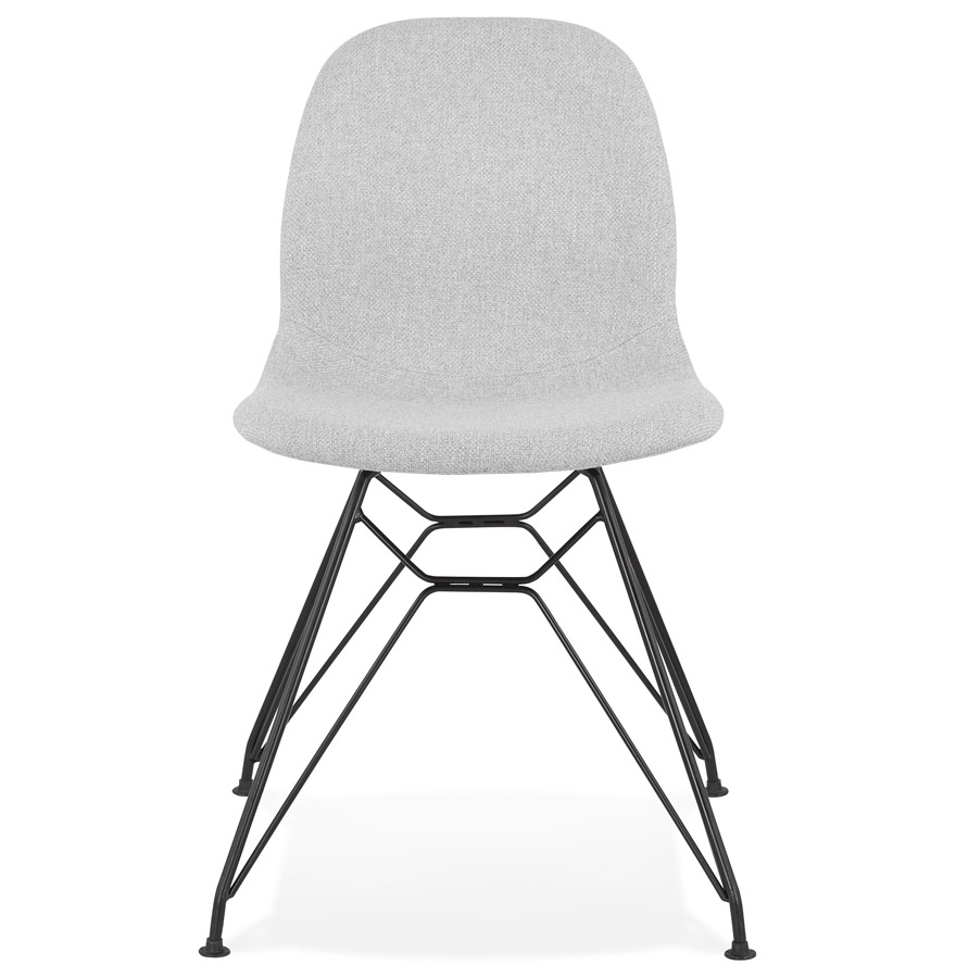 Chaise design ´DECLIK´ grise claire avec pieds en métal noir