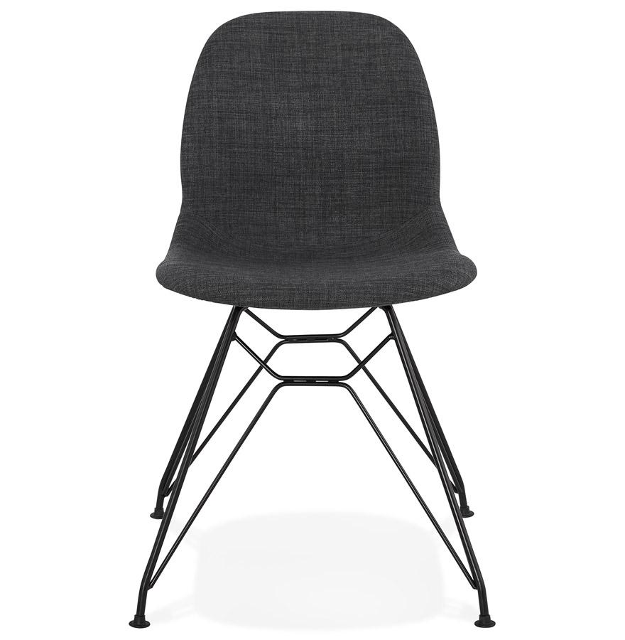 Chaise design ´DECLIK´ grise foncée avec pieds en métal noir