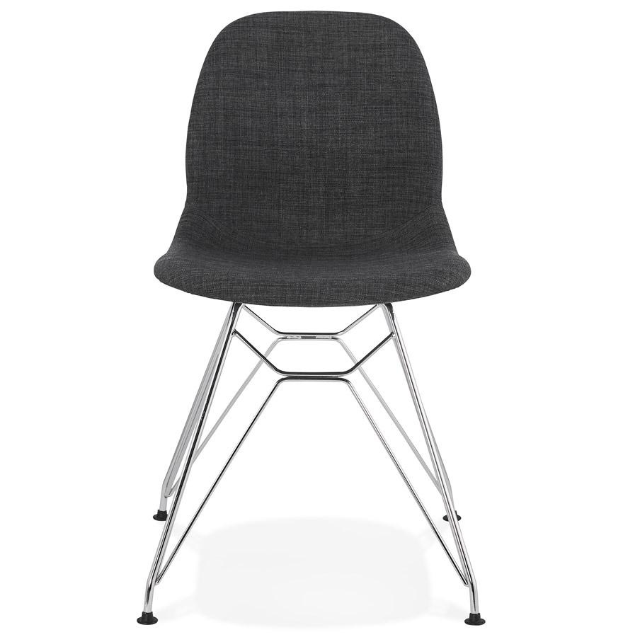 Chaise design ´DECLIK´ grise foncée avec pieds en métal chromé