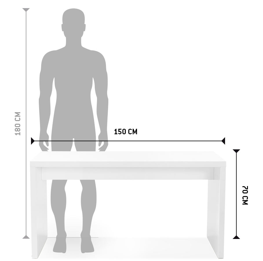 recht design bureau polar in wit geverfd hout 150x70 cm. Black Bedroom Furniture Sets. Home Design Ideas