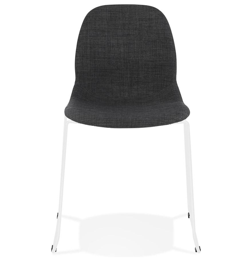 Chaise design ´DISTRIKT´ en tissu gris foncé avec pieds en métal blanc