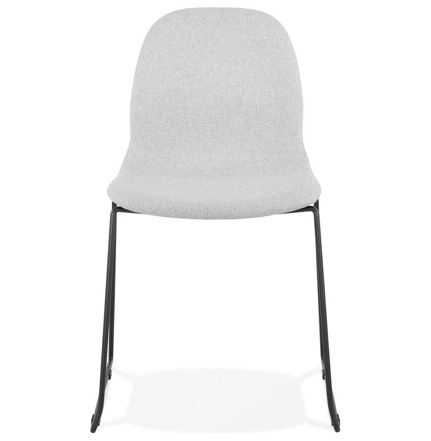 Chaise design empilable ´DISTRIKT´ en tissu gris clair avec pieds en métal noir