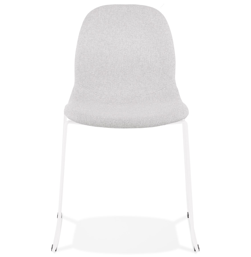 distrikt light grey white h2 02 - Chaise design empilable ´DISTRIKT´ en tissu gris clair avec pieds en métal blanc