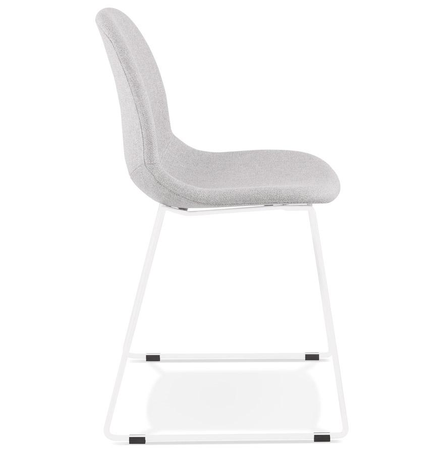 distrikt light grey white h2 03 - Chaise design empilable ´DISTRIKT´ en tissu gris clair avec pieds en métal blanc