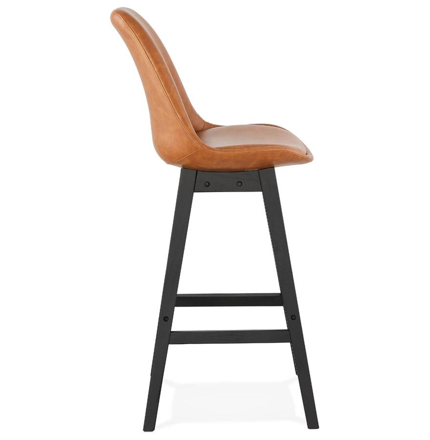Tabouret de bar ´ELENA´ brun en matière synthétique et pied en bois noir