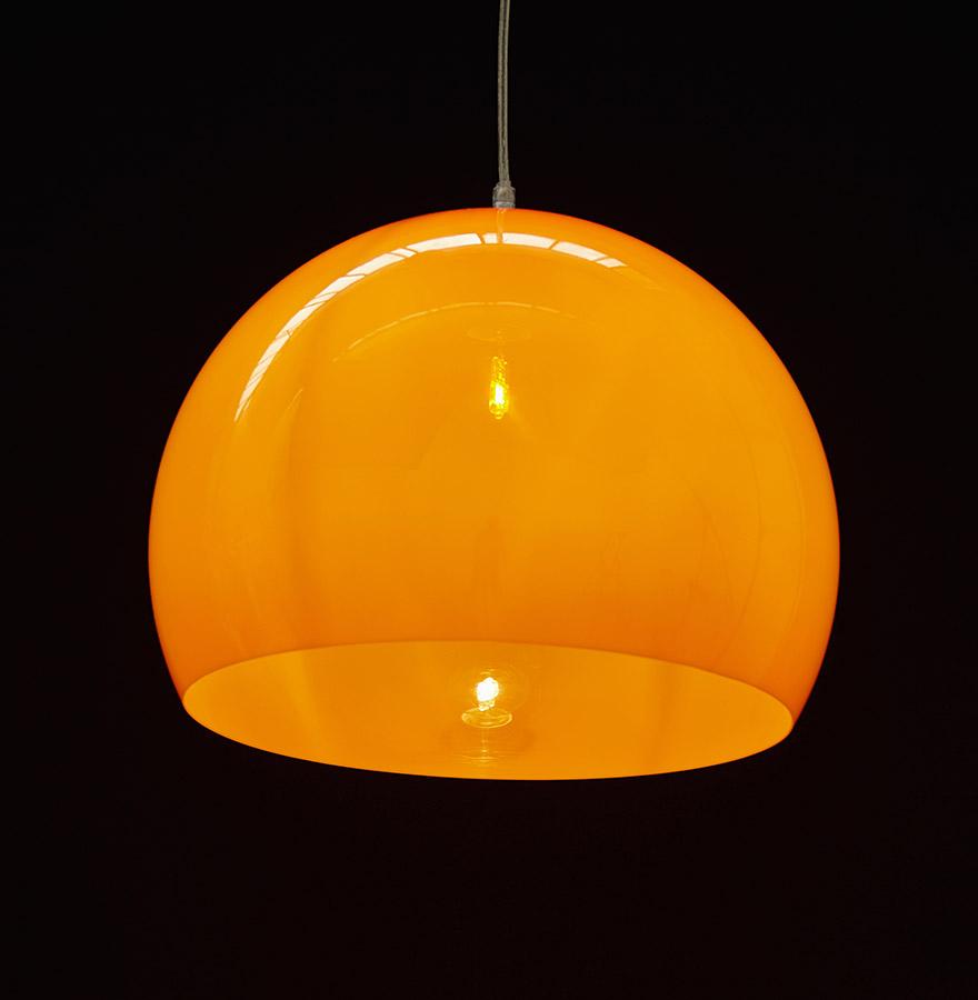 Suspension boule ´ELMET´ en matière plastique orange