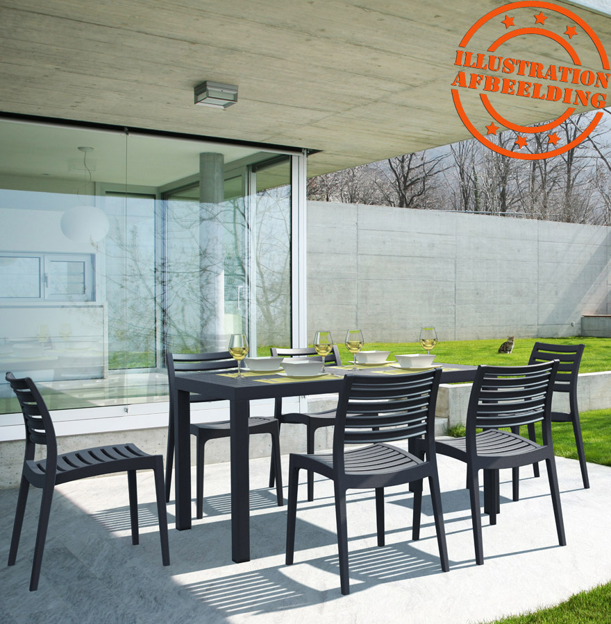 table de jardin enoteca design noire 140x80 cm. Black Bedroom Furniture Sets. Home Design Ideas