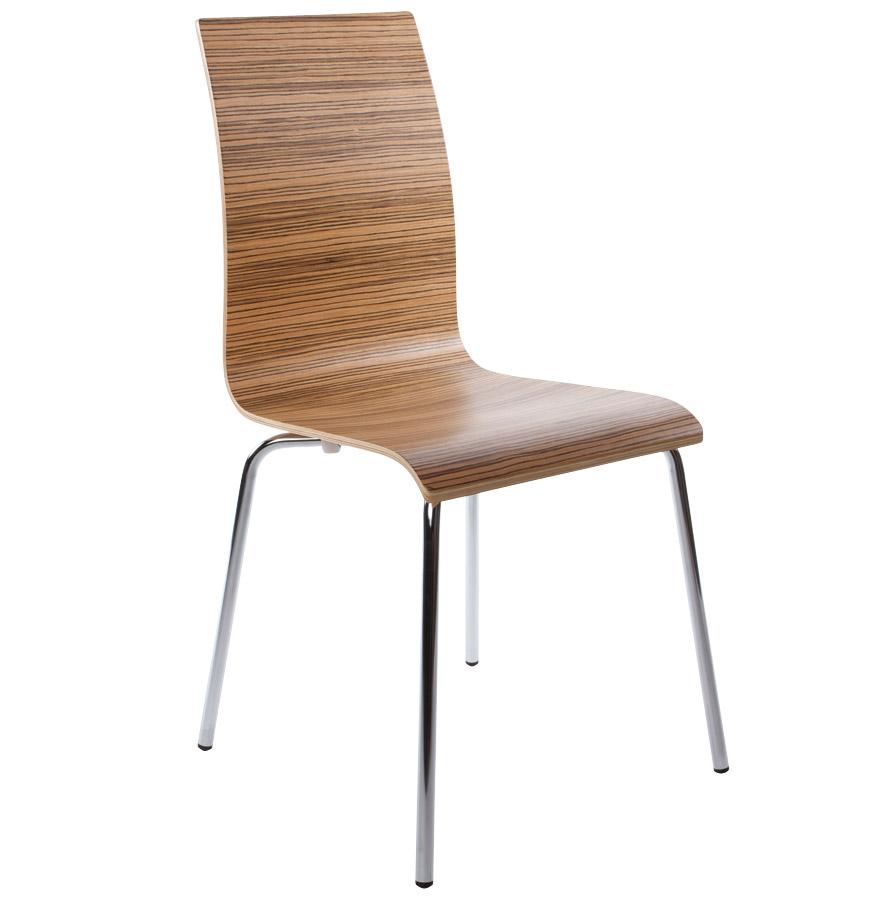 Chaise de salle manger espera en bois finition zebrano for Liquidation chaises de cuisine