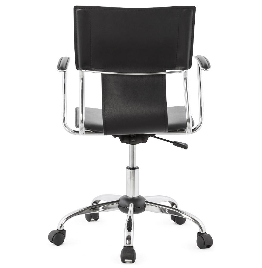 fauteuil de bureau evo sur roulettes en similicuir noir. Black Bedroom Furniture Sets. Home Design Ideas