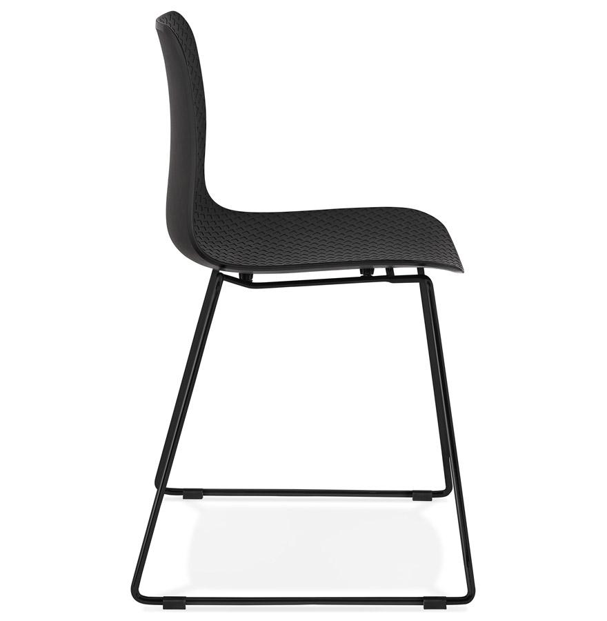 Chaise moderne ´EXPO´ noire avec pieds en métal noir