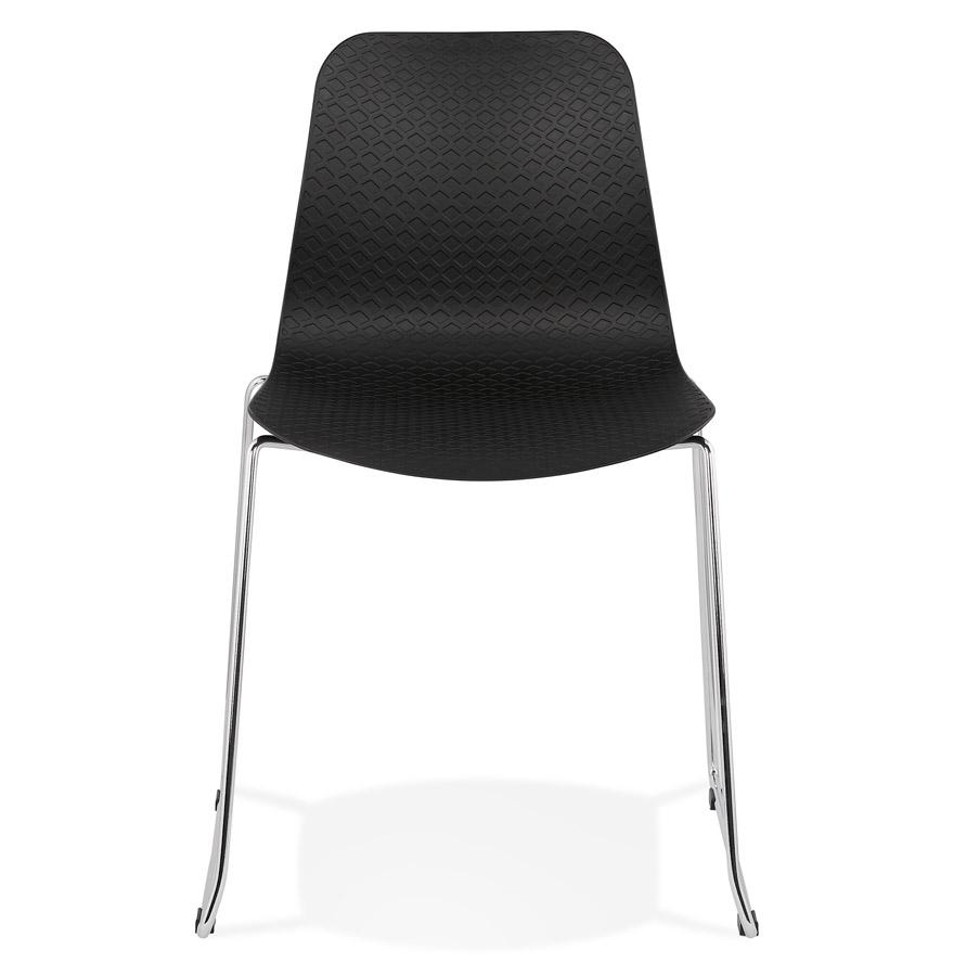 Chaise moderne ´EXPO´ noire avec pieds en métal chromé