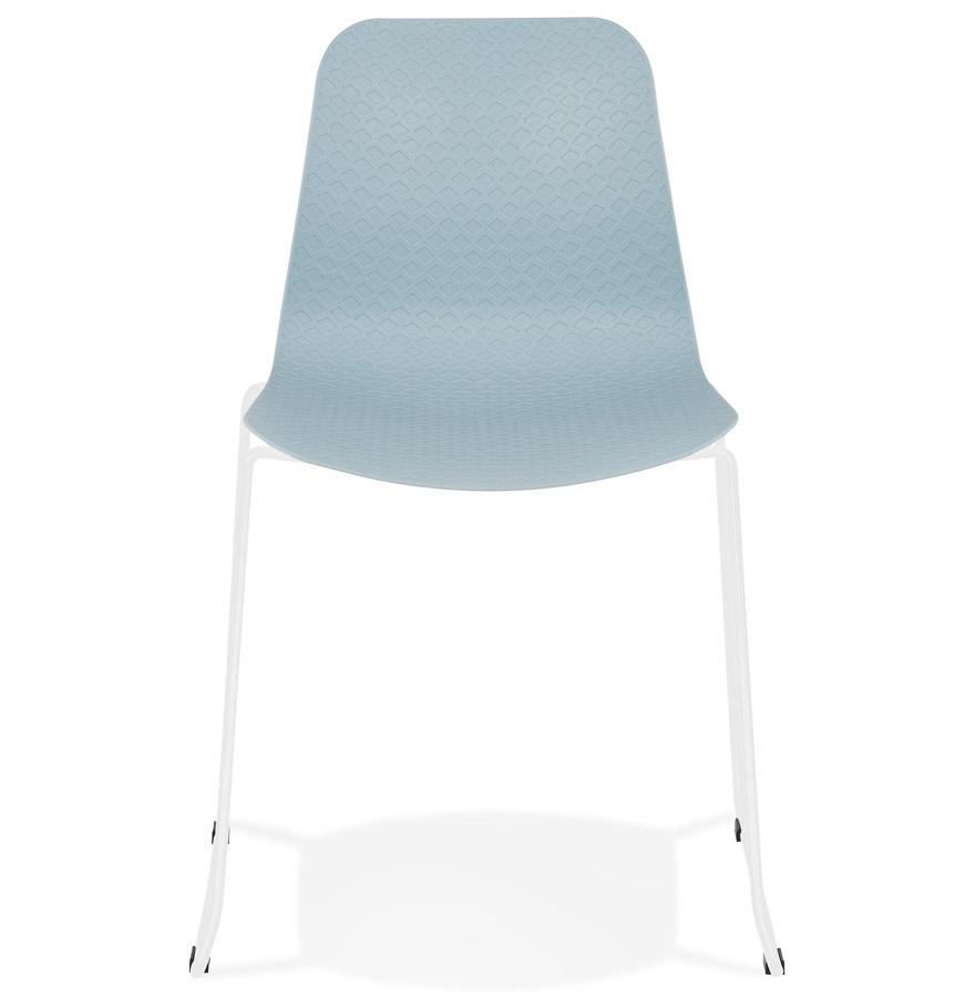Chaise moderne ´EXPO´ bleue avec pieds en métal blanc