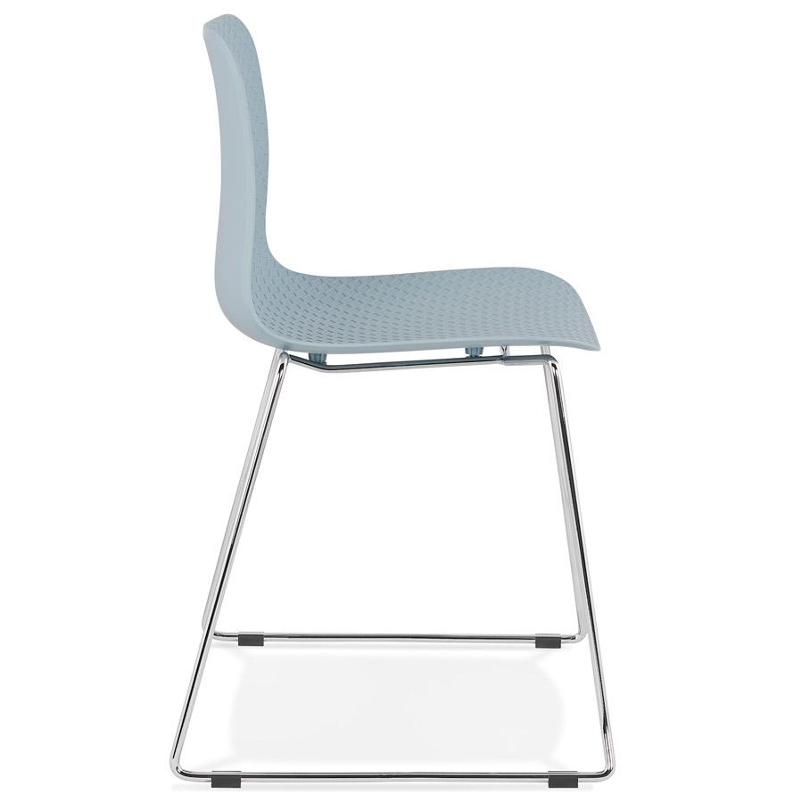 Chaise moderne ´EXPO´ bleue avec pieds en métal chromé