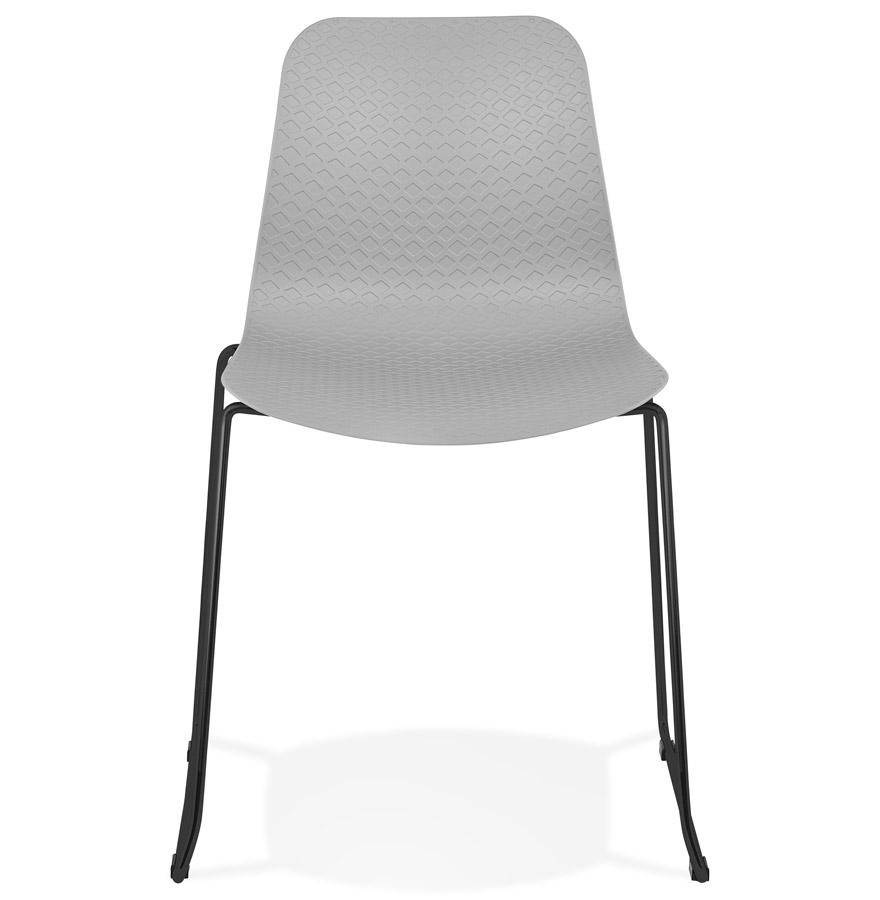 chaise moderne expo grise avec pieds en m tal noir. Black Bedroom Furniture Sets. Home Design Ideas
