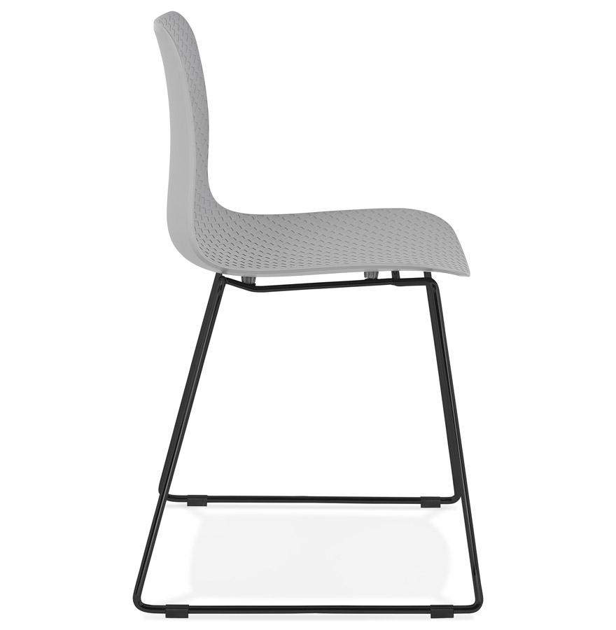 Chaise moderne ´EXPO´ grise avec pieds en métal noir