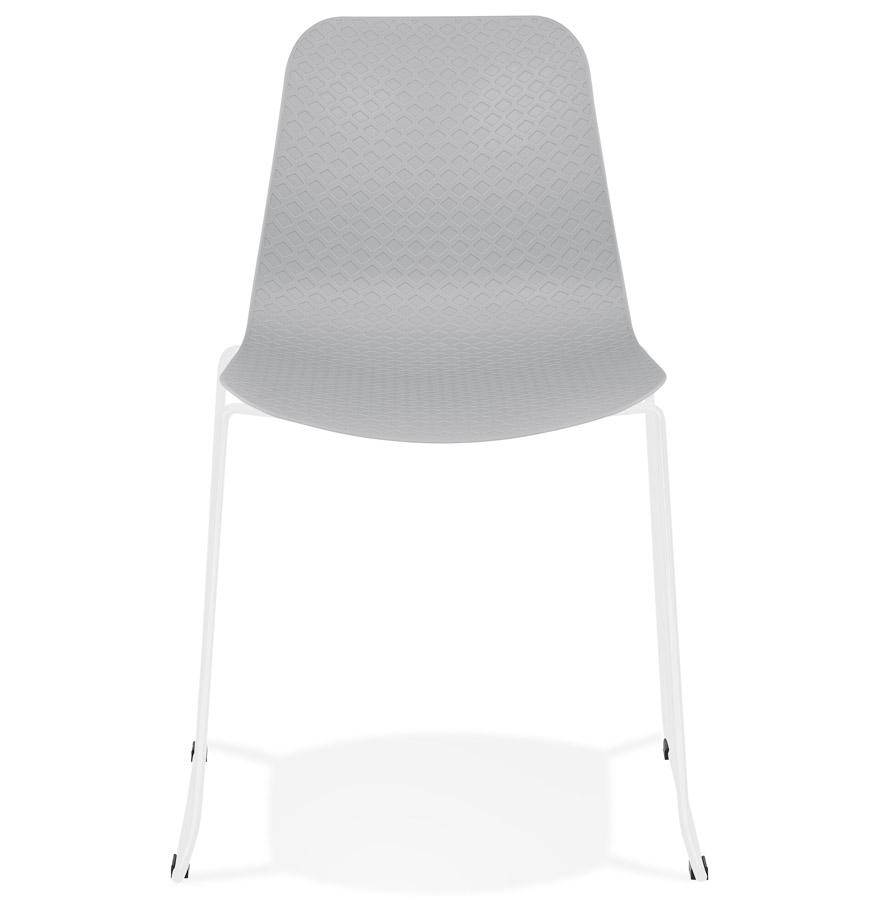 Chaise moderne ´EXPO´ grise avec pieds en métal blanc