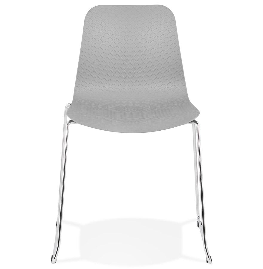 expo grey h2 02 - Chaise moderne ´EXPO´ grise avec pieds en métal chromé