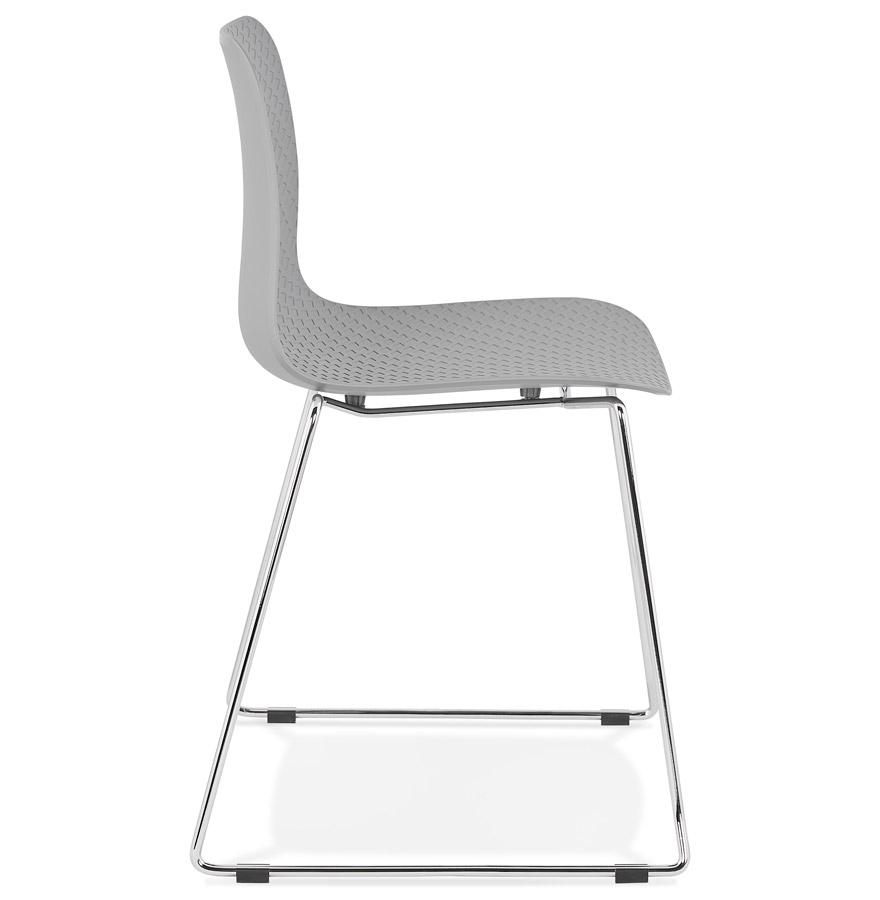 expo grey h2 03 - Chaise moderne ´EXPO´ grise avec pieds en métal chromé