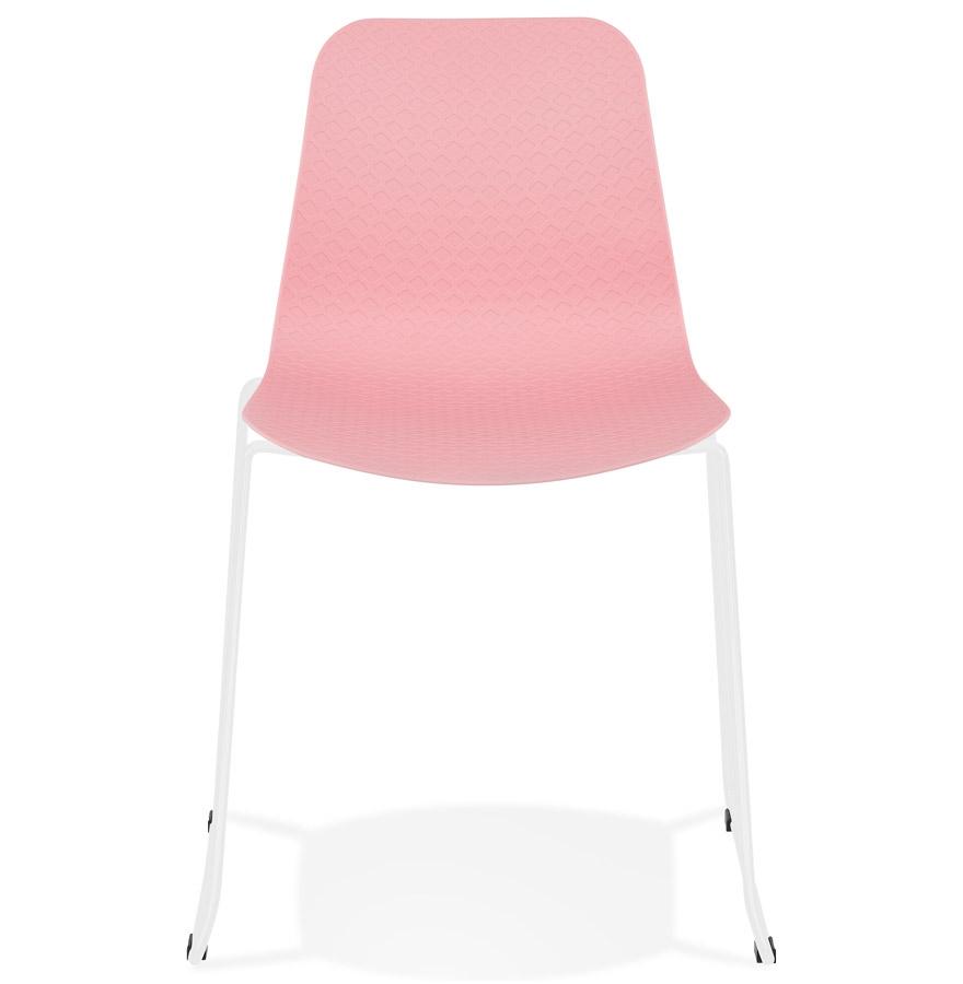 Chaise moderne ´EXPO´ rose avec pieds en métal blanc