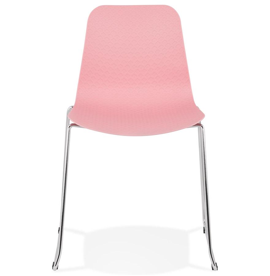 Chaise moderne ´EXPO´ rose avec pieds en métal chromé