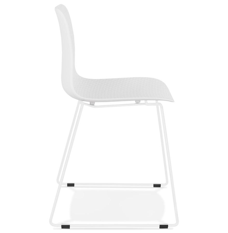 Chaise moderne ´EXPO´ blanche avec pieds en métal blanc