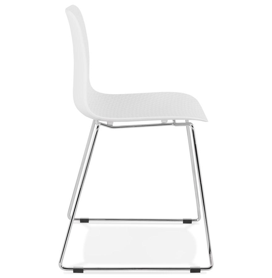 Chaise moderne ´EXPO´ blanche avec pieds en métal chromé