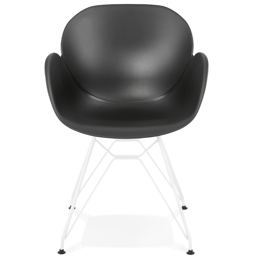 moderne stoel fidji zwart met wit metalen voet. Black Bedroom Furniture Sets. Home Design Ideas