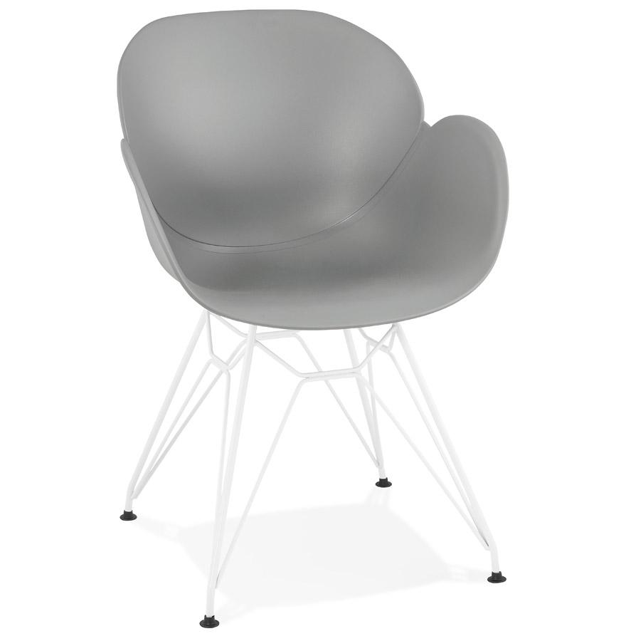 Chaise moderne fidji grise avec pieds en m tal blanc for Chaise grise pied blanc