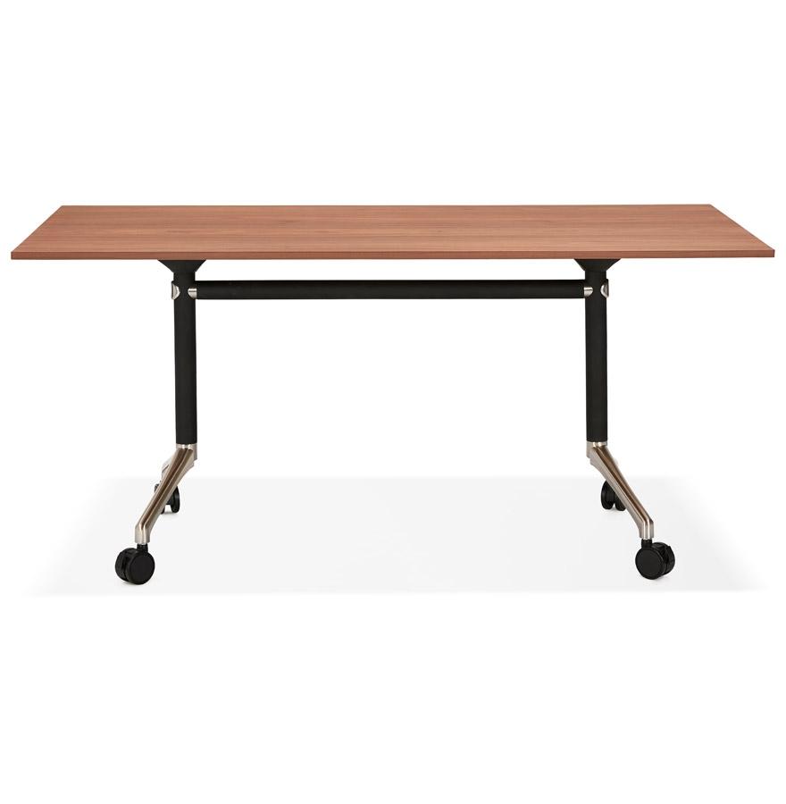 Grand bureau pliable ´FLEXO´ sur roulettes en bois finition Noyer - 160x80 cm