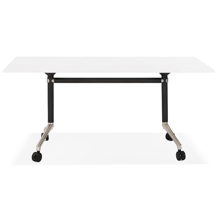 Grand bureau pliable ´FLEXO´ blanc sur roulettes - 160x80 cm