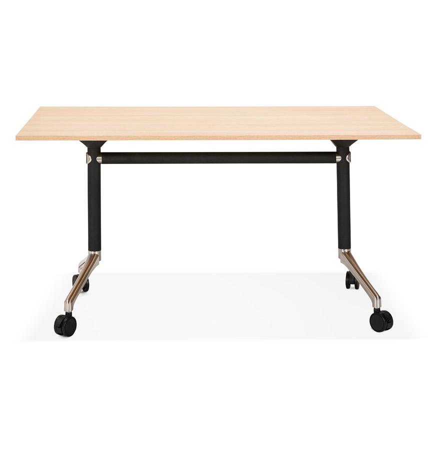 Bureau pliable ´FLEXO´ sur roulettes en bois finition naturelle - 140x70 cm