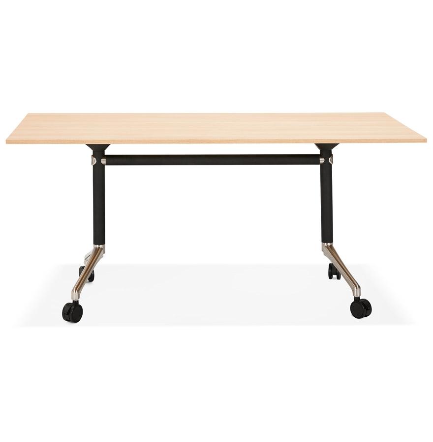 Grand bureau pliable ´FLEXO´ sur roulettes en bois finition naturelle - 160x80 cm