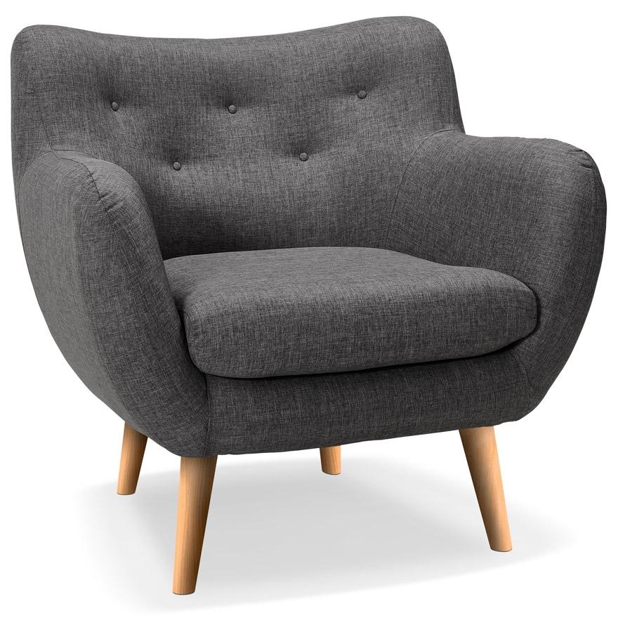 Fauteuil de salon 1 place ´GASPARD MINI´ en tissu gris foncé