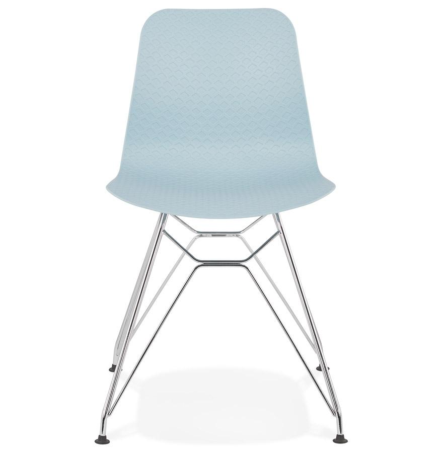Chaise design ´GAUDY´ bleue avec pied en métal chromé