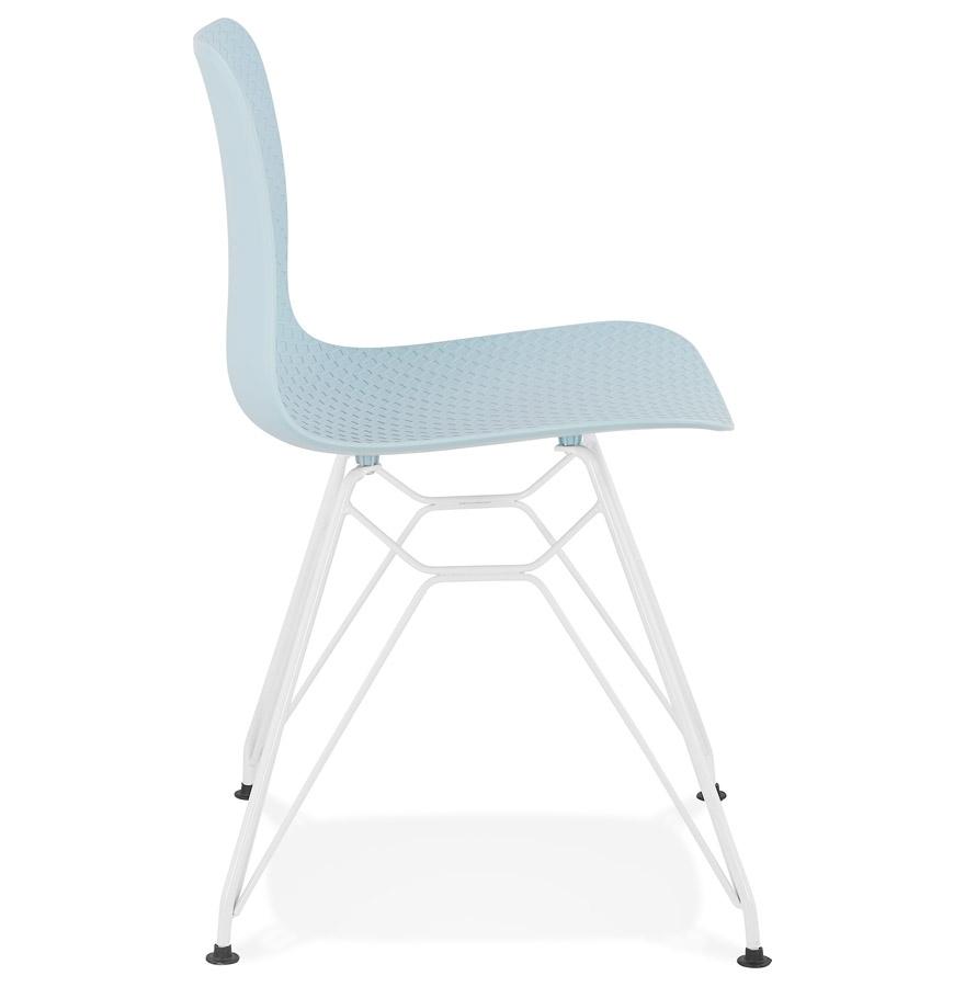 Chaise moderne ´GAUDY´ bleue avec pied en métal blanc