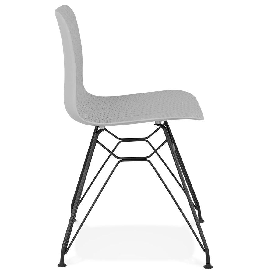 Chaise design ´GAUDY´ grise style industriel avec pied en métal noir