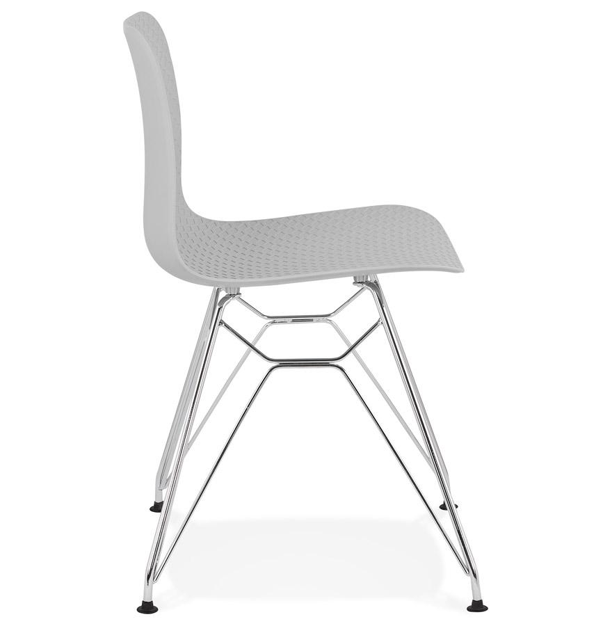 Chaise design ´GAUDY´ grise avec pied en métal chromé