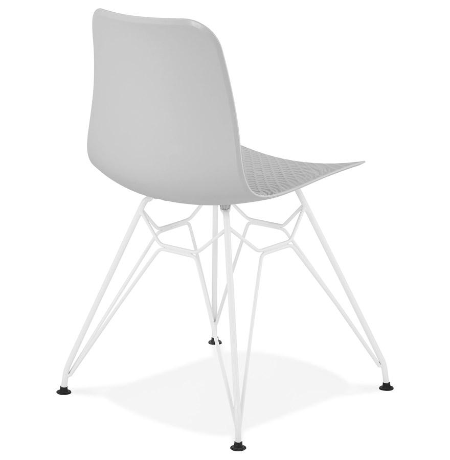 Chaise Moderne Gaudy Grise Avec Pied En M Tal Blanc
