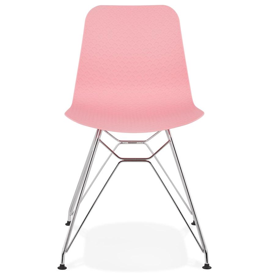 Chaise design ´GAUDY´ rose avec pied en métal chromé